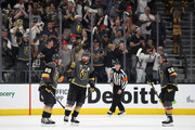 James Neal #18 of the Vegas Golden Knights celebrates with Nate Schmidt #88 and Erik Haula #56 after scoring a power play goal against the San Jose Sharks in the third period Game One of the Western Conference Second Round during the 2018 NHL Stanley Cup Playoffs at T-Mobile Arena on April 26, 2018 in Las Vegas, Nevada. The Golden Knights defeated the Sharks 7-0.
