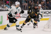 William Carrier #28 of the Vegas Golden Knights skates with the puck past Logan Couture #39 and Tomas Hertl #48 of the San Jose Sharks in the third period Game One of the Western Conference Second Round during the 2018 NHL Stanley Cup Playoffs at T-Mobile Arena on April 26, 2018 in Las Vegas, Nevada. The Golden Knights defeated the Sharks 7-0.