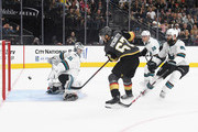 Max Pacioretty #67 of the Vegas Golden Knights scores a short-handed goal against Martin Jones #31 of the San Jose Sharks in the second period of their preseason game at T-Mobile Arena on September 30, 2018 in Las Vegas, Nevada.