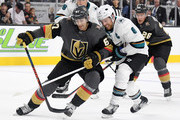 Max Pacioretty #67 of the Vegas Golden Knights skates with the puck against Joe Pavelski #8 of the San Jose Sharks in the second period of their preseason game at T-Mobile Arena on September 30, 2018 in Las Vegas, Nevada.