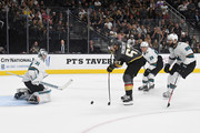 Max Pacioretty #67 of the Vegas Golden Knights gets his own rebound to score a short-handed goal against Martin Jones #31 of the San Jose Sharks in the second period of their preseason game at T-Mobile Arena on September 30, 2018 in Las Vegas, Nevada. The Golden Knights defeated the Sharks 5-2.