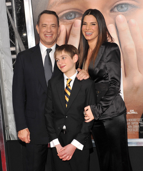 "Sandra Bullock Actors Tom Hanks, Thomas Thorn, and Sandra Bullock attend the ""Extremely Loud & Incredibly Close"" New York premiere at the Ziegfeld Theater on December 15, 2011 in New York City."