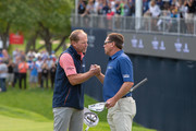 Steve Stricker (L) and Brandt Jobe shake hands after Stricker's win on the 18th hole in the final round of the Sanford International at Minnehaha Country Club on September 23, 2018 in Sioux Falls, South Dakota.