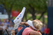 Steve Stricker hugs his wife Nicki Stricker after his win on the 18th hole in the final round of the Sanford International at Minnehaha Country Club on September 23, 2018 in Sioux Falls, South Dakota.