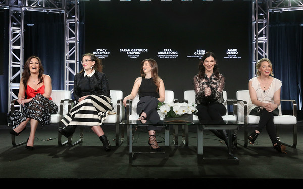 A+E Networks' 2018 Winter Television Critics Association Press Tour [performance,stage,event,fashion,heater,performing arts,musical theatre,drama,fashion design,musical,stacy rukeyser,tara armstrong,sarah gertrude shapiro,jamie denbo,sera gamble,creator,co-creator,l-r,a e networks,winter television critics association press tour]