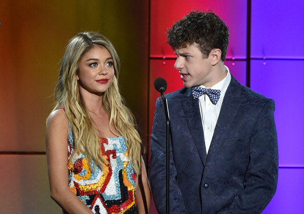 'TrevorLive LA' Event in LA [fashion,yellow,event,fun,formal wear,suit,fashion design,electric blue,long hair,model,robert greenblatt,skylar kergil for the trevor project,actors,nolan gould,sarah hyland,trevorlive la,wells fargo - show,yahoo,l,wells fargo]