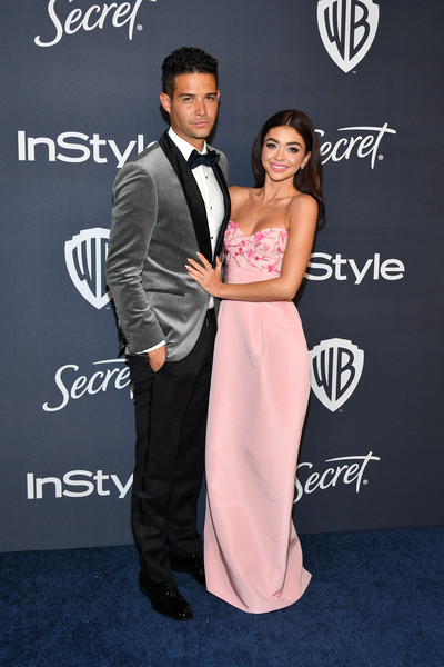21st Annual Warner Bros. And InStyle Golden Globe After Party - Arrivals [formal wear,carpet,premiere,suit,dress,fashion,event,tuxedo,prom,flooring,sarah hyland,wells adams,l-r,the beverly hilton hotel,california,beverly hills,warner bros,instyle golden globe,instyle golden globe after party,arrivals,sarah hyland,celebrity,golden globe awards,modern family,party,party 01,warner bros.,instyle]