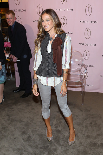 Sarah Jessica Parker Meets Customers During SJP Collection Event At Nordstrom Tysons Corner Center [white,clothing,fashion,outerwear,footwear,jeans,shoulder,fashion design,event,leg,sarah jessica parker,customers,nordstrom tysons corner center,mclean,virginia,sjp collection,sjp collection event,event]