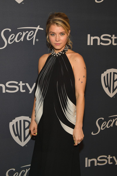 The 2020 InStyle And Warner Bros. 77th Annual Golden Globe Awards Post-Party - Red Carpet [shoulder,clothing,dress,hairstyle,joint,fashion,premiere,little black dress,carpet,neck,sarah jones,beverly hills,california,the beverly hilton hotel,instyle,red carpet,warner bros. 77th annual golden globe awards,warner bros. 77th annual golden globe awards post-party,jenna ortega,beverly hills,the golden globe awards ceremony,celebrity,party 01,party,photograph,instyle,actor]