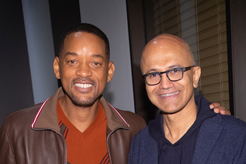 Satya Nadella Will Smith and Director Ang Lee visit Microsoft for the Outside-In Fireside Chat