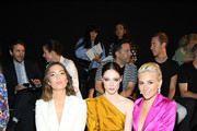(L-R) Mandy Moore, Coco Rocha and Pixie Lott attend the Schiaparelli Haute Couture Fall/Winter 2019 2020 show as part of Paris Fashion Week on July 01, 2019 in Paris, France.