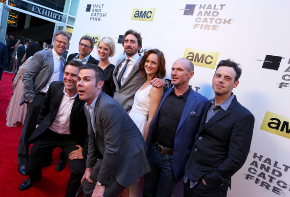 'Halt and Catch Fire' Premieres in Hollywood [halt and catch fire,series,premiere,event,red carpet,carpet,flooring,white-collar worker,businessperson,employment,job,tourism,mark johnson,jonathan lisco,actors,show creators,l-r top,los angeles,amc,red carpet]