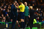 Referee Milorad Mazic speaks to Roy Keane assistant manager of the Republic of Ireland during the EURO 2016 Group D Qualifier match between Scotland and Republic of Ireland at Celtic Park on November 14, 2014 in Glasgow, Scotland.