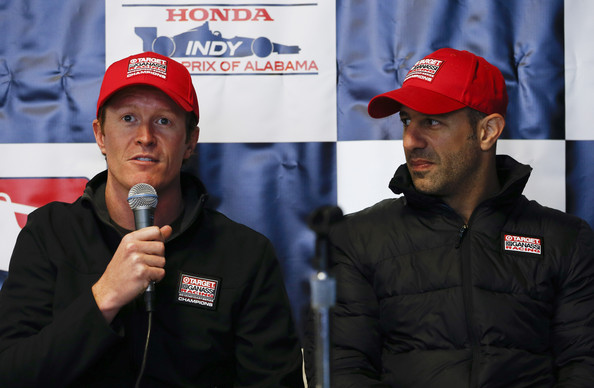 Scott Dixon Scott Dixon of New Zealand, driver of the #9 Target Chip Ganassi Racing Chevrolet and Tony Kanaan of Brazil driver of the #10 Target Chip Ganassi Racing Chevrolet speak to the media during IndyCar testing at Barber Motorsports Park on March 17, 2014 in Birmingham, Alabama.