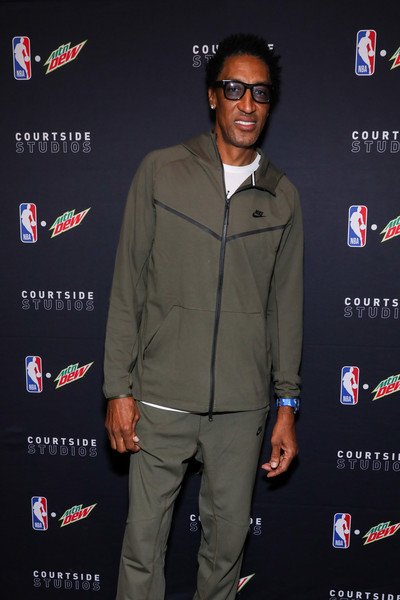 Mtn Dew Fans Closer Than Courtside At Courtside Studios During All-Star 2020 [premiere,event,suit,fans,scottie pippen,studios,chicago,illinois,fulton,mtn dew,mtn dew courtside studios,morgan\u00e2,all-star 2020,scottie pippen,celebrity,getty images,photograph,photography,stock photography,image,chicago,2020 nba all-star game]