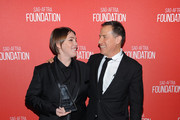 Honoree Megan Ellison (L), recipient of the Patron of the Artists Award, and filmmaker David O. Russell attend the Screen Actors Guild Foundation 30th Anniversary Celebration at Wallis Annenberg Center for the Performing Arts on November 5, 2015 in Beverly Hills, California.