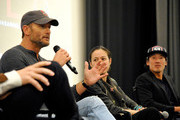 """(L-R) Tim McGraw, director and producer Elizabeth Chai Vasarhelyi, and director, producer, and cinematographer Jimmy Chin attend the screening of """"Free Solo"""" hosted by Tim McGraw at SilverScreen Theater at the Pacific Design Center on November 11, 2018 in West Hollywood, California."""