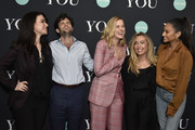 "Sera Gamble, Penn Badgley, Elizabeth Lail, Caroline Kepnes, and Shay Mitchell attend Screening Of Lifetime's ""You"" Series Premiere on September 5, 2018 in New York City."
