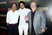 """Nat Faxon, Eric Andre and Matt Groening attend the screening of Netflix's """"Disenchantment"""" at the Vista Theatre on August 14, 2018 in Los Angeles, California."""