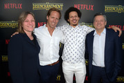 """(L-R) Netflix Vice President of Original Series Cindy Holland, Nat Faxon, Eric Andre and Netflix CEO Ted Sarandos attend the screening of Netflix's """"Disenchantment"""" at the Vista Theatre on August 14, 2018 in Los Angeles, California."""