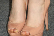 """Actress Mia Wasikowska (shoe detail) attends the Screening of Oscilloscope Laboratories' """"We Need To Talk About Kevin"""" at the Writers Guild Theater on November 10, 2011 in Beverly Hills, California."""