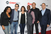 """(L-R) Actress Nia Long, co-executive producer David Walpert, executive producer Jessika Borsiczky, actor Don Cheadle, executive producer Matthew Carnahan and Showtime Networks Entertainment President David Nevins arrive at an exclusive screening and panel discussion with Showtime's """"Hou$e Of Lie$"""" at Leonard H. Goldenson Theatre on June 6, 2013 in North Hollywood, California."""