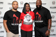 "(L-R) Sybrina Fulton, Jussie Smollett and Tracy Martin attend the Screening And Panel For ""Rest In Power: The Trayvon Martin Story"" at The Apollo Theater on July 29, 2018 in New York City."