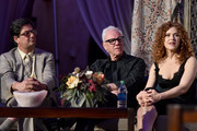 """(L-R) Executive producer Roman Coppola, actors Malcolm McDowell and Bernadette Peters speak onstage during the Screening and Q&A for Amazon's """"Mozart In The Jungle"""" at Hollywood Roosevelt Hotel on April 21, 2016 in Hollywood, California."""