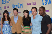 "Actors Hannah Simone, Max Greenfield, Zooey Deschanel, Jake Johnson and Lamorne Morris arrive to a screening and Q&A for Fox's ""New Girl"" at Leonard H. Goldenson Theatre on April 30, 2013 in North Hollywood, California."