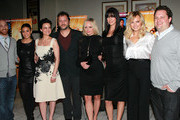 """(L-R) Sony Pictures Worldwide Acquisitions Group's Scott Shooman, actresses Emmanuelle Chriqui and Carla Gugino, director Sebastian Gutierrez, actresses Marley Shelton, Adrianne Palicki and Malin Akerman and The Samuel Goldwyn Compnay's Peter Goldwyn attend a screening of Samuel Goldwyn Films' """"Elektra Luxx"""" at the Charles Aidikoff Screening Room on March 4, 2011 in Beverly Hills, California."""