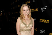 """Actress Allie Grant arrives at a screening of Tribeca Film's """"Struck By Lightning"""" at the Chinese Cinema 6 Theaters on January 6, 2013 in Los Angeles, California."""