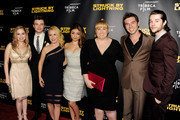 """(L-R) Actress Allie Grant, actor/producer/writer Chris Colfer, actors Angela Kinsey, Sarah Hyland, Rebel Wilson, Roberto Aguire and Matt Prokop arrive at a screening of Tribeca Film's """"Struck By Lightning"""" at the Chinese Cinema 6 Theaters on January 6, 2013 in Los Angeles, California."""