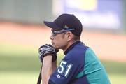 Ichiro Suzuki #51 of the Seattle Mariners looks on during batting practice before a baseball game against the Baltimore Orioles at Oriole Park at Camden Yards on June 26, 2018 in Baltimore, Maryland.