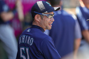 Ichiro Suzuki #51 of the Seattle Mariners in the duhout prior to the 1st inning against the Los Angeles Angels at Angel Stadium on September 16, 2018 in Anaheim, California.