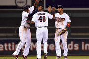 (L-R) Aaron Hicks #32, Torii Hunter #48 and Eddie Rosario #20 of the Minnesota Twins celebrate a win of the game against the Seattle Mariners on July 30, 2015 at Target Field in Minneapolis, Minnesota. The Twins defeated the Mariners 9-5.