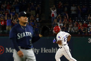 Adrian Beltre #29 of the Texas Rangers runs the bases after hitting a three-run home run off of Erasmo Ramirez #31 of the Seattle Mariners in the first inning at Globe Life Park in Arlington on September 21, 2018 in Arlington, Texas.
