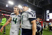 Kicker Sebastian Janikowski #11 celebrates with teammate punter Michael Dickson #4 of the Seattle Seahawks after kicking the game winning field goal at the end of the fourth quarter at State Farm Stadium on September 30, 2018 in Glendale, Arizona. The Seahawks beat the Cardinals 20-17.