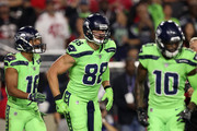Tight end Jimmy Graham #88 of the Seattle Seahawks reacts after scoring a six yard touchdown against the Arizona Cardinals in the first half at University of Phoenix Stadium on November 9, 2017 in Glendale, Arizona.