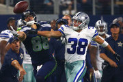Jimmy Graham #88 of the Seattle Seahawks tries to catch a pass against Jeff Heath #38 of the Dallas Cowboys in the second half at AT&T Stadium on November 1, 2015 in Arlington, Texas.