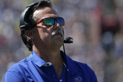 Head coach Jeff Fisher of the Los Angeles Rams watches his team from the sidelines during the home opening NFL game against the Seattle Seahawks at Los Angeles Coliseum on September 18, 2016 in Los Angeles, California.