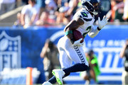 Earl Thomas #29 of the Seattle Seahawks runs back his interception during the fourth quarter in a 16-10 Seahawks win over the Los Angeles Rams at Los Angeles Memorial Coliseum on October 8, 2017 in Los Angeles, California.