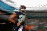 Jimmy Graham #88 of the Seattle Seahawks runs onto the field before the game against the New York Jets at MetLife Stadium on October 2, 2016 in East Rutherford, New Jersey.