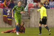 Andy Williams #77 of  Real Salt Lake watches Tyson Wahl of the Seattle Sounders FC jog away after a foul called by referee Mark Kadlecik in a MLS soccer game on May 28, 2011 at Rio Tinto Stadium in Sandy, Utah.