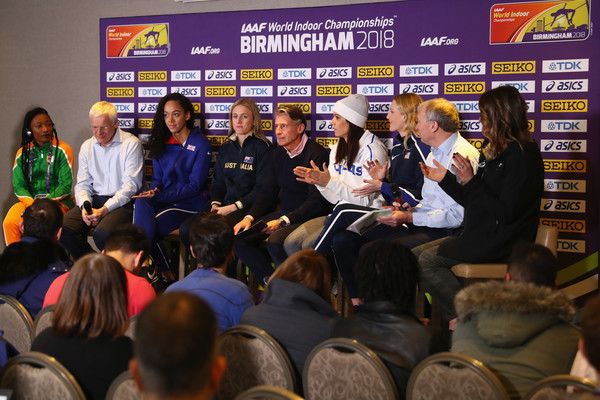 IAAF World Indoor Championships - Day One [day one,event,community,crowd,team,competition event,news conference,convention,championship,games,job,athletes,ian ward,ekaterini stefanidi,stacey dragila,president,katarina johnson-thompson,great britain,iaaf,iaaf world indoor championships]