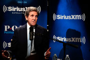 Former Secretary of State John Kerry talks with SiriusXM's Julie Mason during a SiriusXM Town Hall event on October 2, 2018 in Washington, DC.