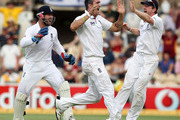 Kevin Pietersen (C) of England celebrates capturing the wicket of Michael Clarke with his Matt Prior and Paul Collingwood (R) during day four of the Second Ashes Test match between Australia and England at Adelaide Oval on December 6, 2010 in Adelaide, Australia.