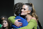 Model Nina Agdal greets a guest at the John John runway show in Gallery I of Spring Studios during New York Fashion Week: The Shows at Spring Studios on February 12, 2019 in New York City.