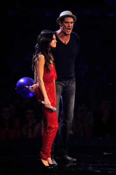 Selena Gomez MTV Europe Music Awards hostess Selena Gomez and David Hasselhoff appear onstage during the MTV Europe Music Awards 2011 live show at the Odyssey Arena on November 6, 2011 in Belfast, Northern Ireland.