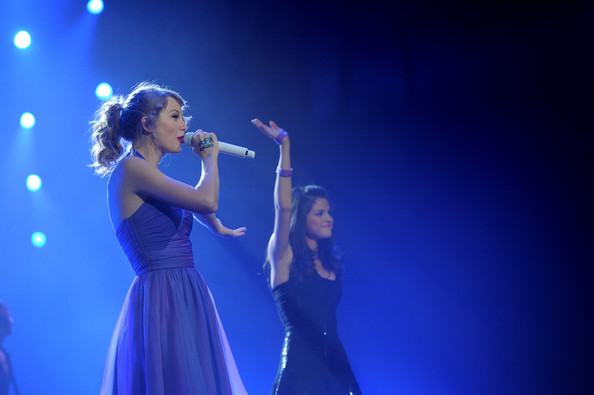 "Selena Gomez Taylor Swift and Selena Gomez perform onstage during the ""Speak Now World Tour"" at Madison Square Garden on November 22, 2011 in New York City. Taylor Swift wrapped up the North American leg of her SPEAK NOW WORLD TOUR with two sold-out shows at Madison Square Garden this week. In 2011, the tour played to capacity crowds in stadiums and arenas over 98 shows in 17 countries spanning three continents, and will continue in 2012 with shows Australia and New Zealand."