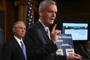 Sen. Judd Gregg (R-NH) speaks during a press conference on pending healthcare legislation in the U.S. Senate with Sen. Jeff Sessions (R-AL) (L) at the U.S. Capitol December 23, 2009 in Washington, DC.  The U.S. Senate is expected to vote on final passage of their national healthcare legislation tomorrow, Christmas Eve.